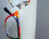 Whimsical Eyeglass Holder Necklace with Metallic Hand Pendant Scupture - Free Shipping