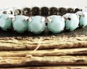 MINT ALABASTER Swarovski Diamonds Bracelet Fantasy Charm Bracelet