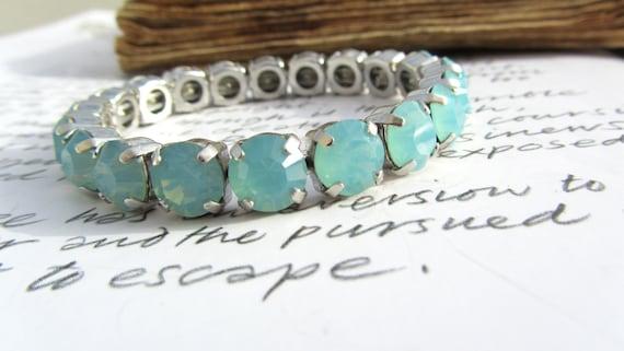 PACIFIC OPAL Swarovski Diamonds Bracelet Jewel Rhinestone Vintage Renaissance Bangle