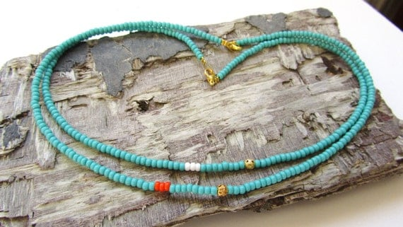 SURFERS TURQUOISE NECKLACE - Beaded Necklace