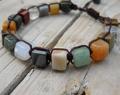 Multi Stone Cubes Macrame Bracelet