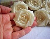 Ivory Flower Appliqué Rolled Rosette Flower Wedding flower bridal flower decor handmade fabric flower