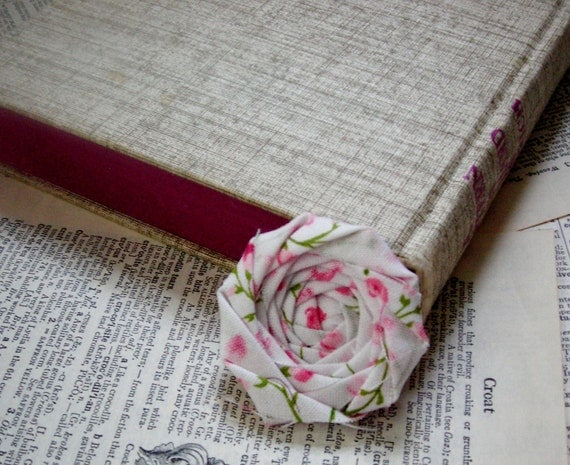 Fabric Flower Bookmark Mothers Day Gift for Readers