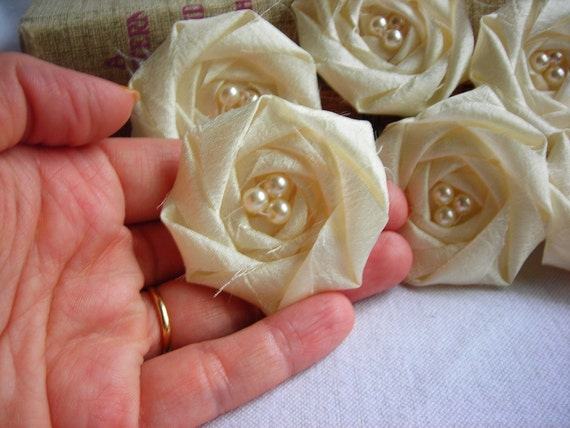 Ivory Flower Appliqué Rolled Rosette Flower Wedding flower bridal flower decor handmade fabric flower