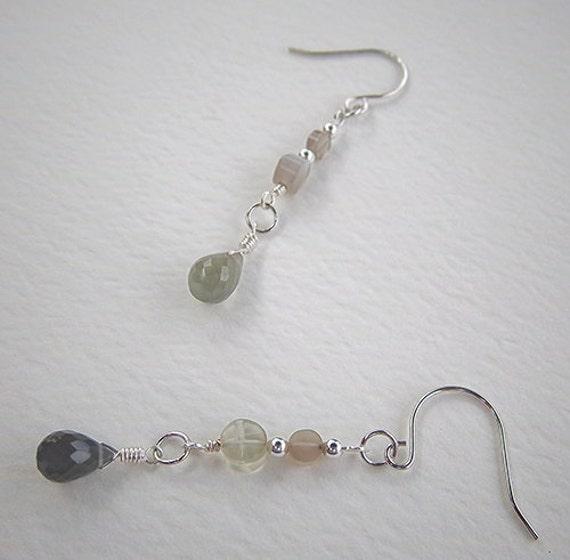 Silver and Gray Moonstone Briolette Dangle Earrings