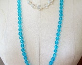 SALE Beautiful Vintage Long Turquoise Crystal Necklace 31 INCHES LONG Destash Shabby Chic Perfect For Jewelry making....