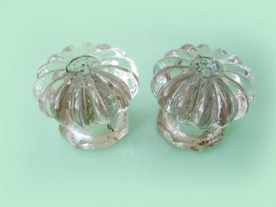 HOLIDAY SALE  Original Vintage Depression Clear Glass Furniture Knobs Handles Very Shabby Chic Large Size Set Of Two