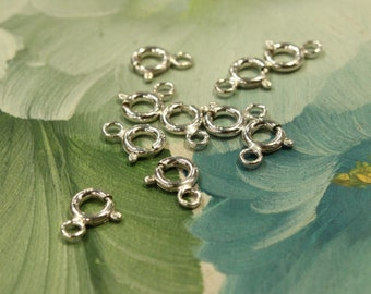 6 pcs - Sterling Silver Spring Clasp