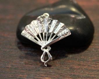 Sterling Silver Folded Fan Pendant/Charm