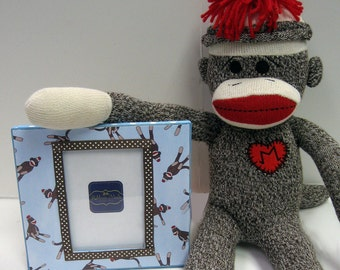 Sock Monkey Frame- Light Blue