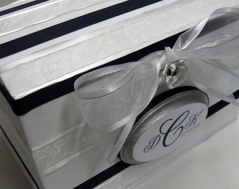 Wedding Card Box Money Gift Box Holder- Custom Initial Date Plaque White with Silver and Navy Trim