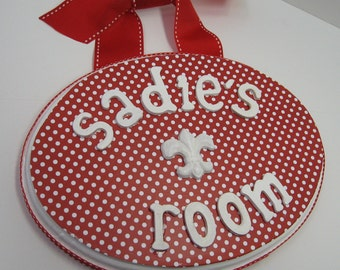 Red and White Polka Dot Little Girl's Room Name Plaque