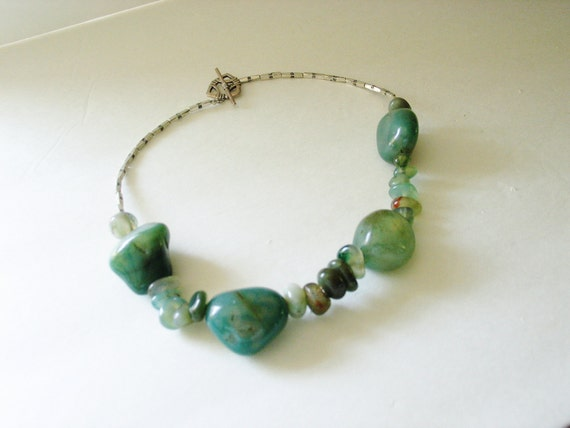 Dusty Green Aventurine Necklace  -  One of a Kind -  Green Statement Necklace  - Statement Necklace - Aventurine and Sterling Silver