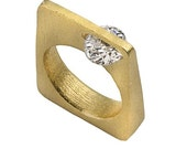 Square Ring, 18K Yellow G...