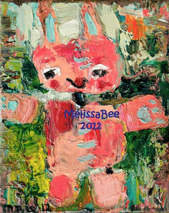 Pink Bunny Toy ORIGINAL painting by Melissa BEE