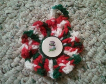 Bottelcap Center Crochet Christmas Ornament
