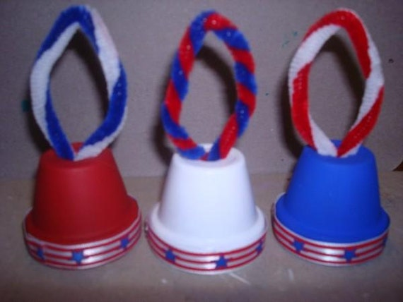 Set of mini USA Bell Ornaments