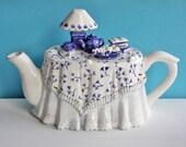 V I T N A G E  Blue  Skirted Tea Table TEAPOT / Tea Set, Lamp and Books