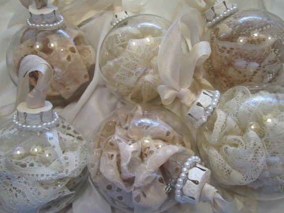 Shabby Chic Vintage Lace Ornaments Set of 6