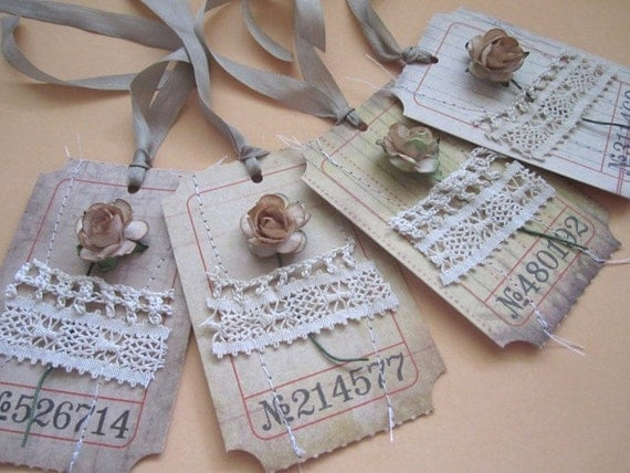 Vintage Lace Carnival Ticket Gift Tags Set of 4