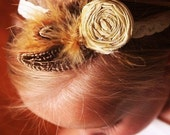 The Ava -- LUXE Vintage cuteness line -- Dupioni Silk rosette with feather accent headband -- newborns baby infant toddler girl teen ladies sizes available -- photo prop cute for fall and with matilda jane