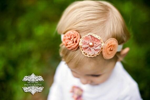 ON SALE Infant Girl Headband - Baby Headband - peach orange  Flower Headband -  rosettes newborn Photography Prop