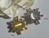 10 Stunning Rhinestone Buttons - Choose Gold or Silver - USA Seller - wedding invitation buckle flower