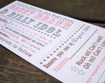 Concert Ticket Wedding Invitation - Deposit to get Started - Free Shipping