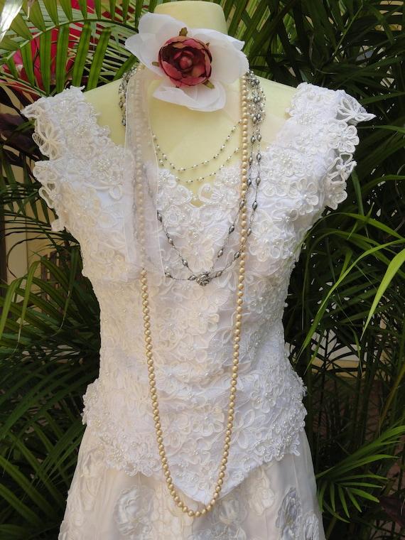 OOAK Wedding corset SALE blouse top white satin ties beading 80s vintage by vastly vintage on etsy