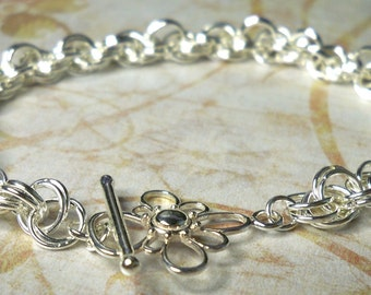 Double Spiral Loop Sterling Silver Chainmail Bracelet
