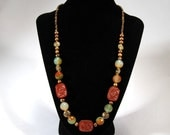 Orange and Green Agate necklace  2010