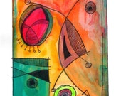 Original Small Abstract Acrylic Painting on Paper