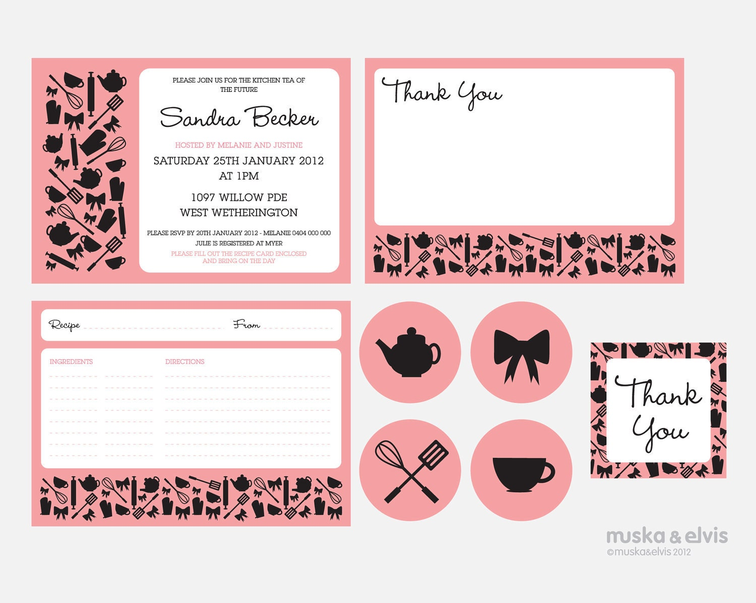 Kitchen Tea Invites Printable Bridal Shower Kitchen Tea Invitation Pack