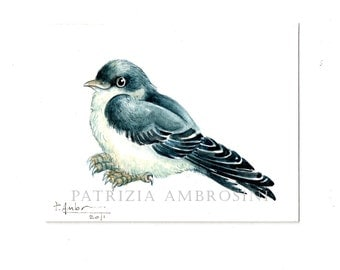 Aceo original - SWALLOW  - card small painting collectible bird blue