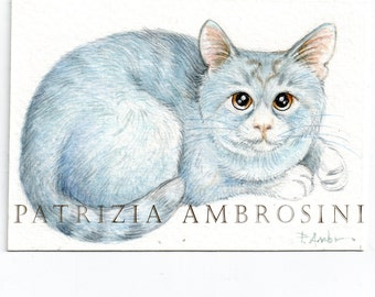 ACEO Original -Blue cat- Collectible miniature painting ....watercolour card nature