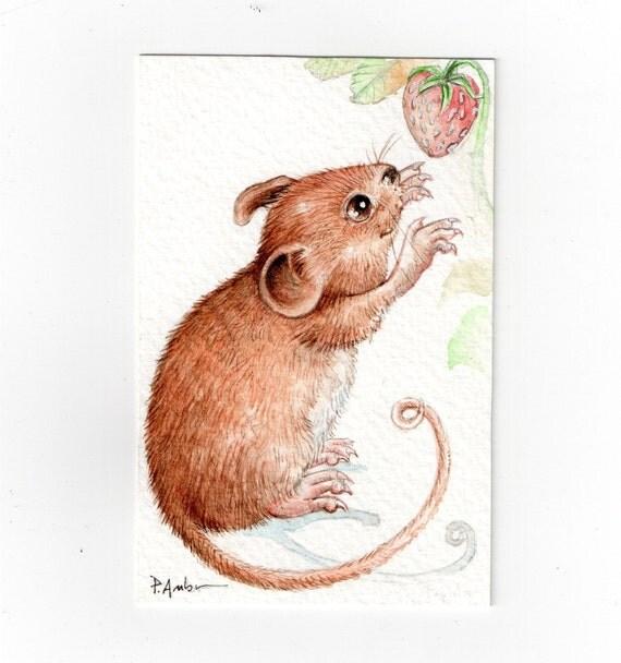 Original ACEO Mouse 3 ..Original Painting Watercolor Card