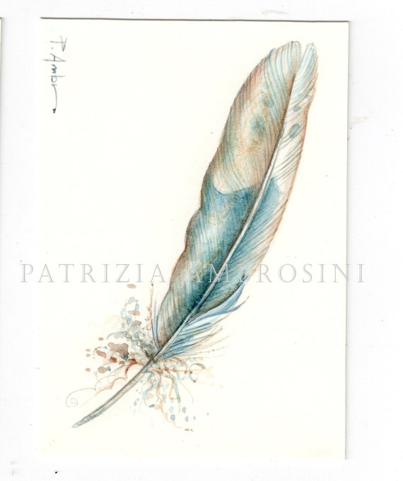 ACEO Original FEATHER StudioNo.4 Collectible miniature handpainted....watercolour card