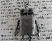Tim the Tin Robot : tin coloured funky retro pendant on chain with moveable arms and legs