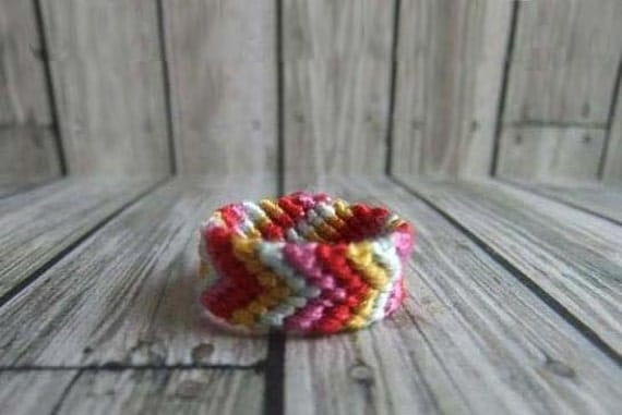 friendship ring - pink, red, gold, silver