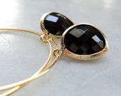 Gold hoops with onyx black glass gold dangle drop earrings.  Bridal earrings. Bridesmaids earrings. Wedding jewelry. Bridal jewelry.