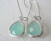Mint aqua chalcedony aquamarine glass and silver dangle earrings Bridal earrings Bridesmaids earrings Bridesmaid earrings Wedding jewelry