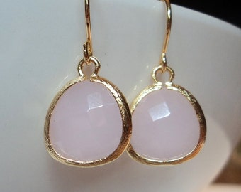 Rose quartz pink glass and gold dangle earrings.  Bridal earrings.  Bridesmaids earrings.  Bridesmaid.  Wedding jewelry.