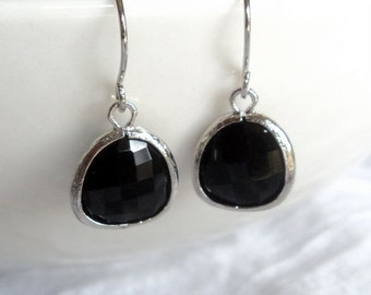 Black onyx glass and silver rhodium dangle earrings.  French wires.  Everyday.  Bridal.  Bridesmaids.  Wedding.