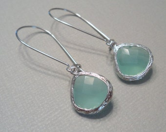 Mint aqua chalcedony aquamarine glass and silver dangle tear shape earrings.  Bridal earrings.  Bridesmaids earrings.  Wedding jewelry.
