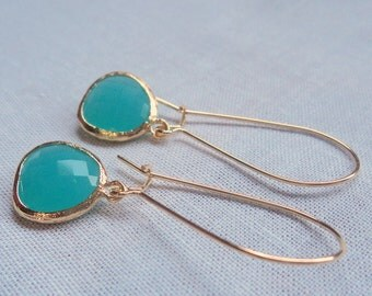 Aqua chalcedony glass and gold dangle earrings.  Kidney wires.  Everyday.  Bridal.  Simple and Gorgeous.