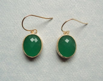Emerald green jade glass dangles on gold french ear wires.  Bridal earrings.  Bridesmaids earrings.  Wedding jewelry.