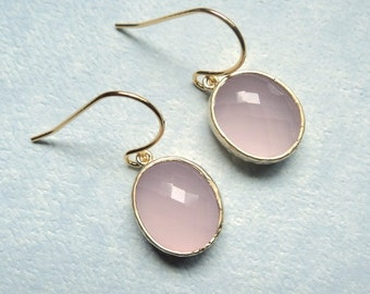 Rose quartz pink glass dangles on gold french ear wires.  Everyday.  Bridal.