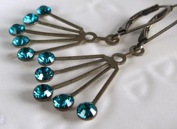Vintage Swarovski Art Deco brass fan with blue zircon glass crystals rhinestones on antiqued brass lever-back ear-wires