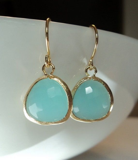 Mint aqua chalcedony aquamarine glass and gold dangle earrings.  French wires.  Everyday.  Bridal.  Simple and Gorgeous.