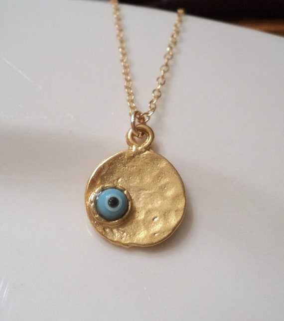 Evil eye turquoise glass and gold pendant on gold fill chain necklace.  Everyday.  Spiritual.  NOW AVAILABLE in Green.